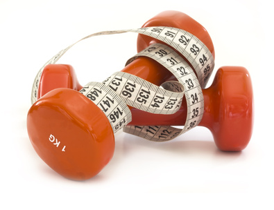 dumbbels with measuring tape