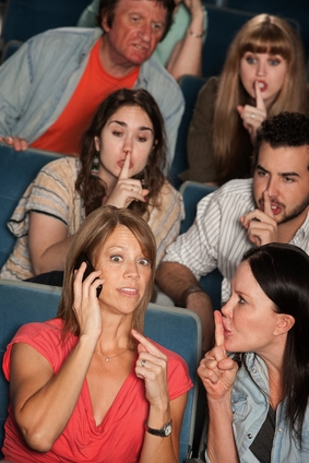 Loud woman on phone annoys people in theater